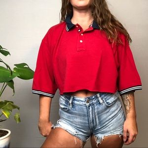 Vintage Tommy Hilfiger Polo Crop 🔥🔥🔥 Red